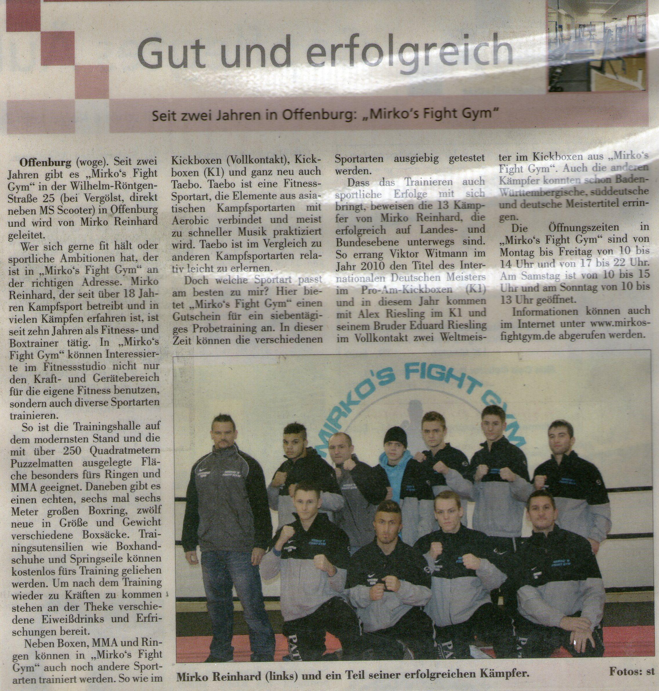 Seit zwei Jahren in Offenburg: Mirko´s Fight Gym