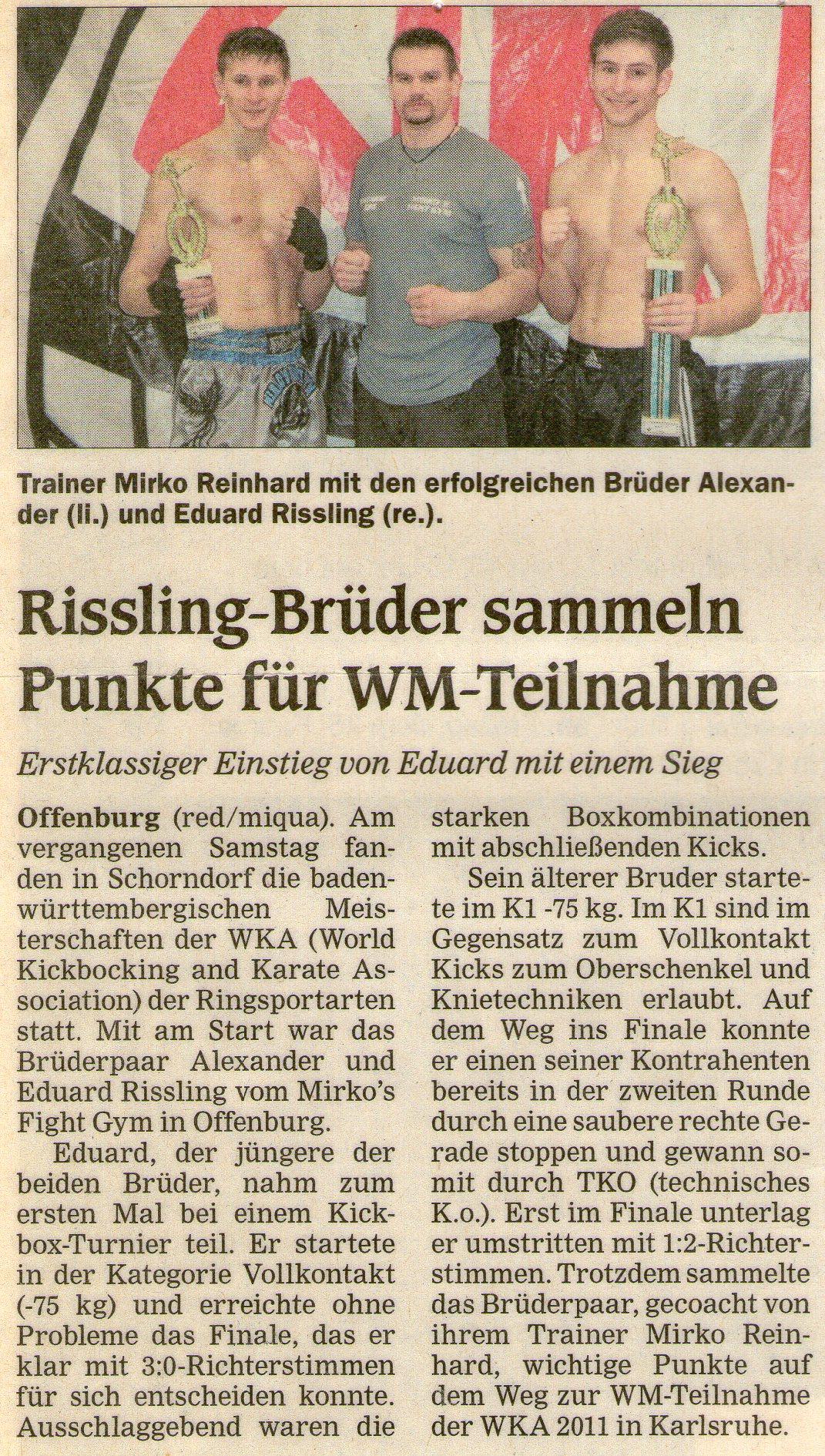 Rissling-Brüder sammeln Punkte für WM-Teilnahme