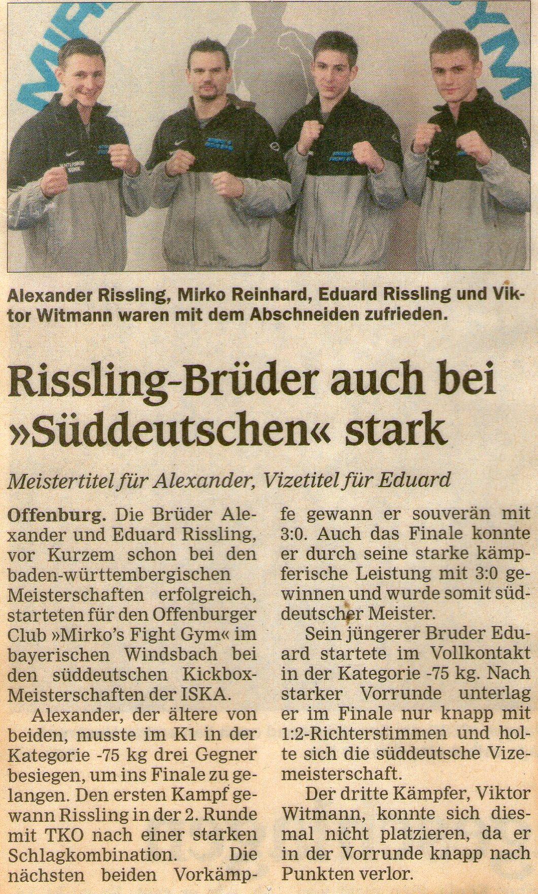 Rissling-Brüder auch bei Süddeuschen stark