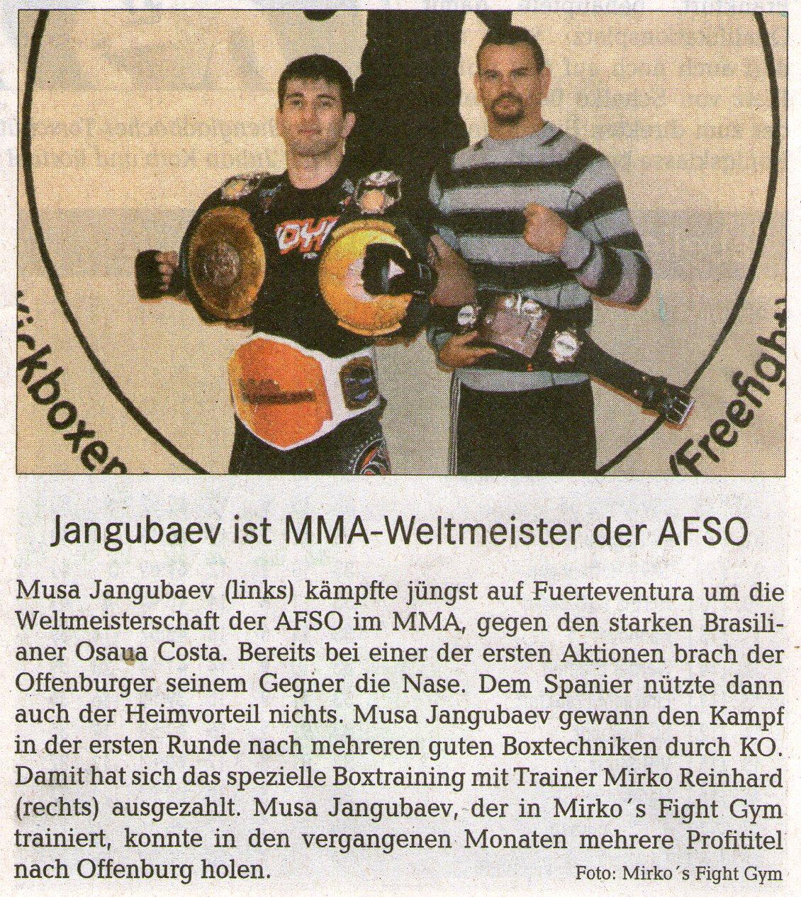 Jangubaev ist MMA Weltmeistr der AFSO