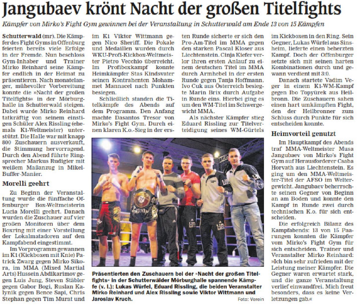 Mirkos Fight Night, Schutterwald, Mörburghale, 2015, K1 MMA Kickbocen, Titelfights