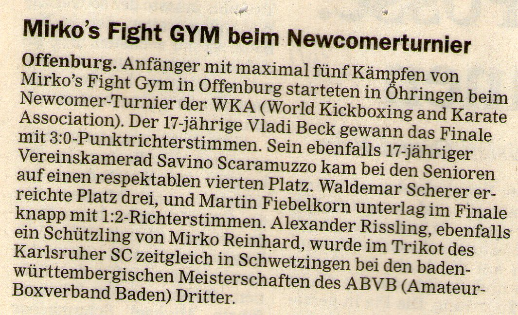 Mirko´s Fight Gym beim Newcomerturnier