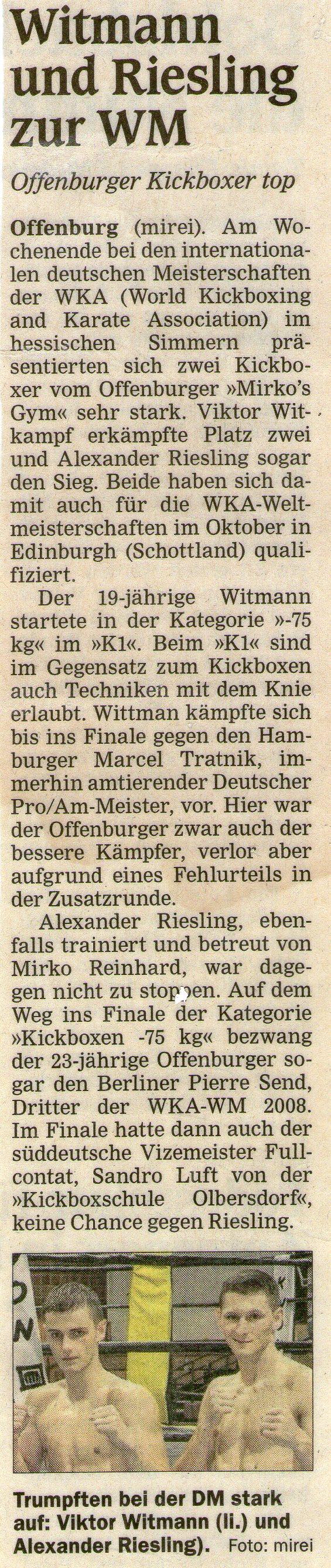Wittmann und Rissling zur WM