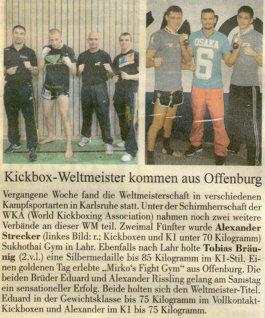 Kickbox-Weltmeister kommen aus Offenburg