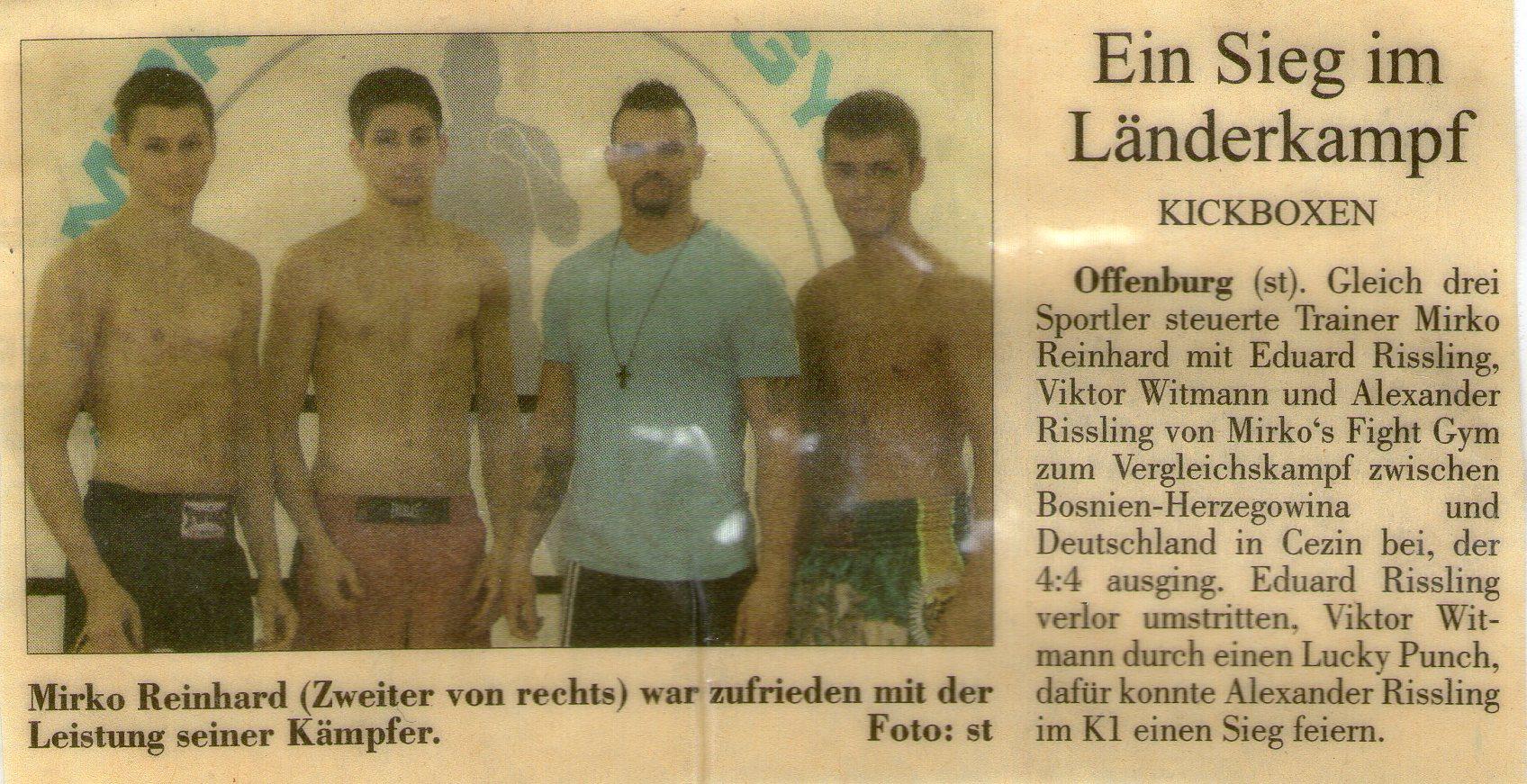 Ein Sieg im Länderkampf, Mirko´s Fight Gym in Bosnien